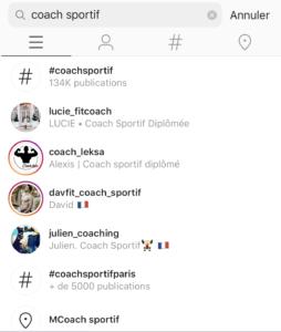 utiliser la recherche instagram