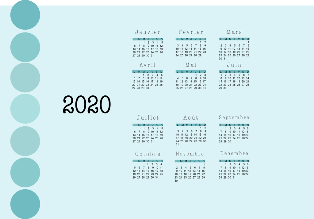 fond d'écran calendrier 2020